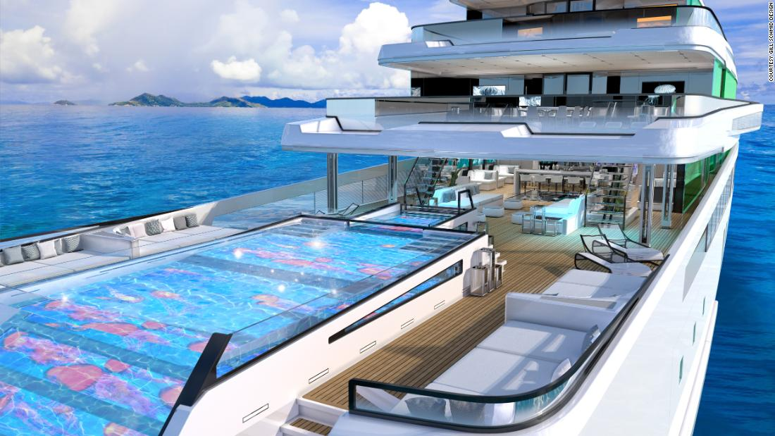 The hybrid superyacht concept with five pools and an open-air cinema